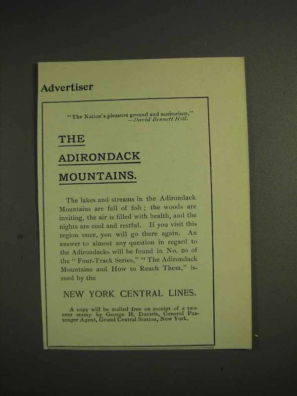 1904 New York Central Railroad Ad, Adirondack Mountains