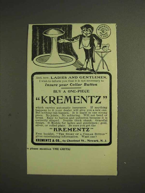 1904 Krementz one-piece Collar Button Ad - Insure