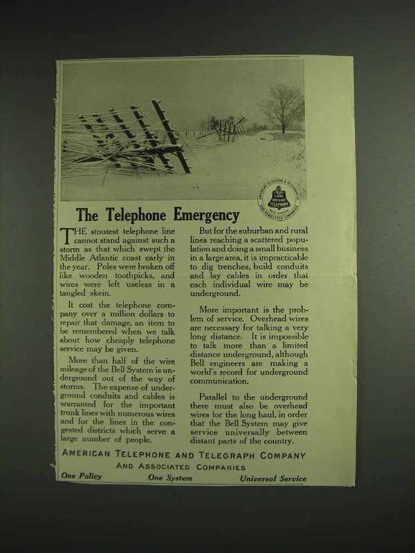 1914 AT&T Telephone Ad - The Telephone Emergency