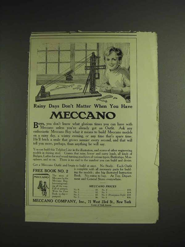 1914 Meccano Toy Set Ad - Rainy Days Don't Matter