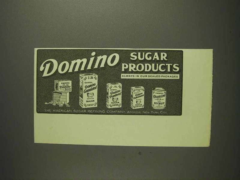 1914 Domino Sugar Products Ad - Crystal, Granulated