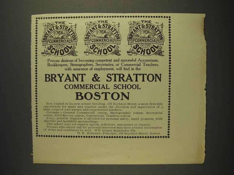 1914 Bryant & Stratton Commercial School Boston Ad