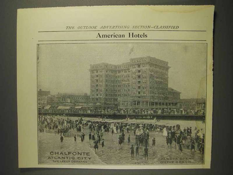 1914 Chalfonte Atlantic City Hotel Ad - Open on Beach