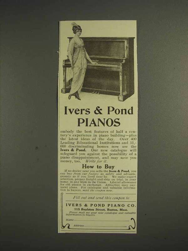 1914 Ivers & Pond Piano Ad - Best Features