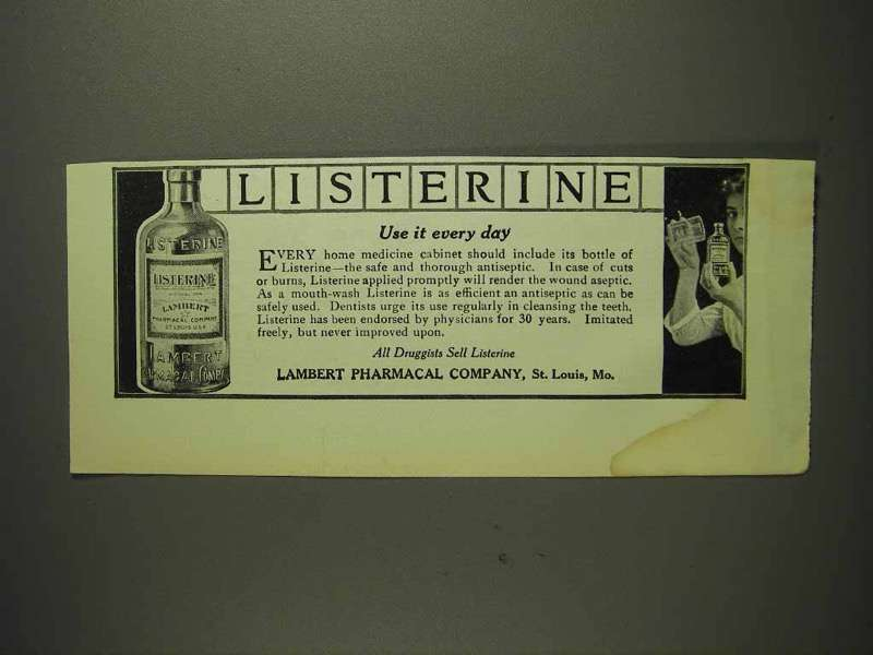 1914 Listerine Antiseptic Mouth-Wash Ad - Use It Every Day