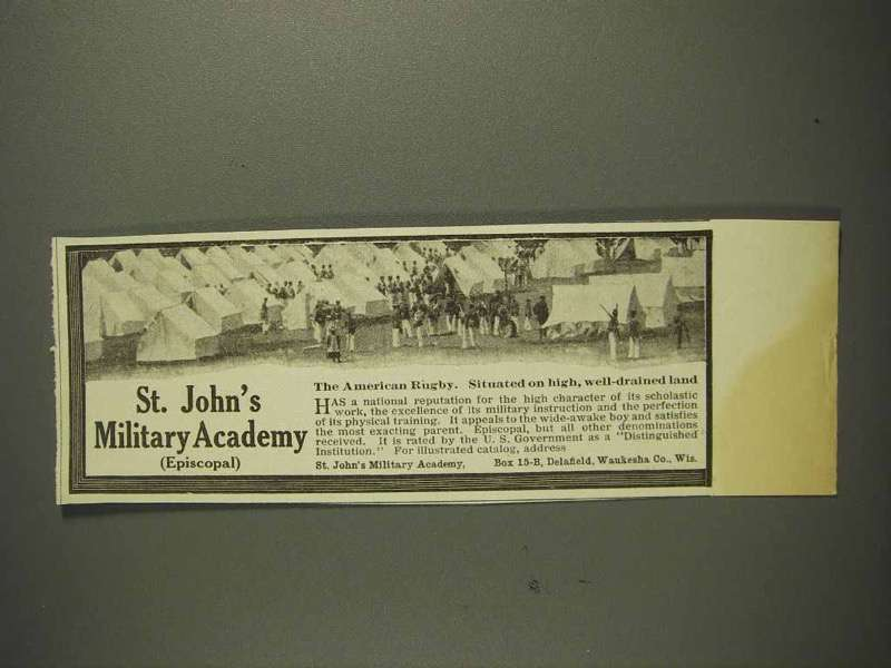 1914 St. John's Military Academy Ad - The American Rugby - Tent Camp