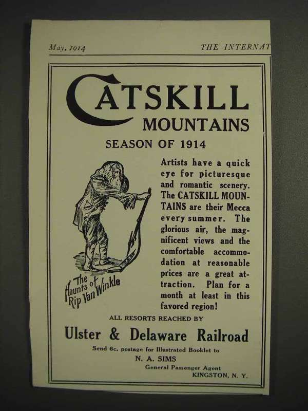 1914 Ulster & Delaware Railroad Ad - Catskill Mountains