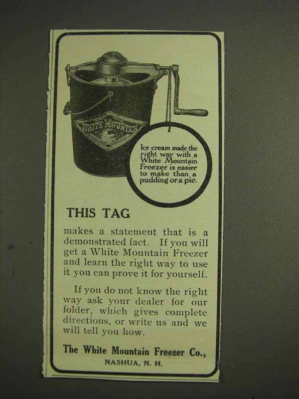 1914 White Mountain Freezer Ice Cream Ad - This Tag