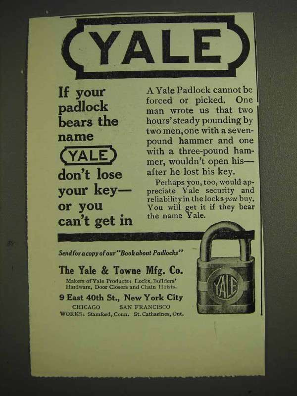 1914 Yale Padlock Ad - Don't Lose Your Key