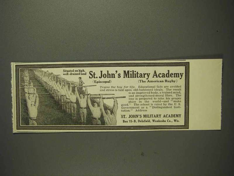 1914 St. John's Military Academy Ad - American Rugby