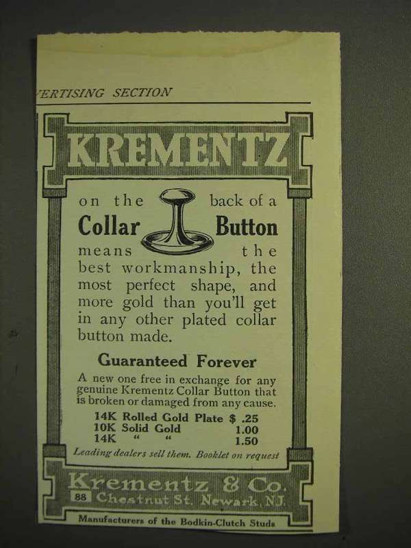 1914 Krementz Collar Button Ad - Best Workmanship