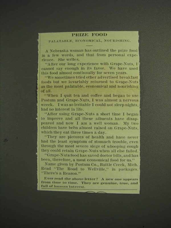 1914 Grape-Nuts Cereal Ad - Prize Food
