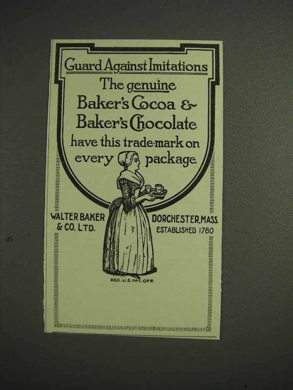1914 Baker's Cocoa & Chocolate Ad - Guard Against