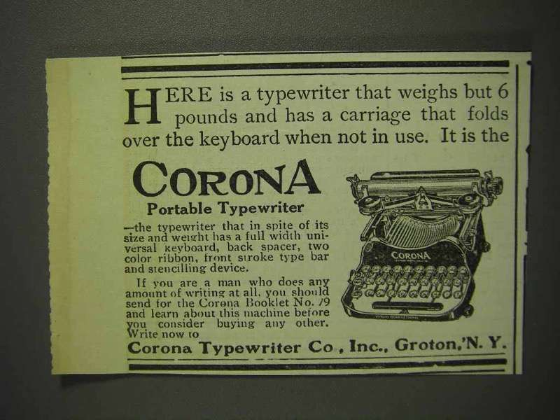 1914 Corona Portable Typewriter Ad - Carriage Folds