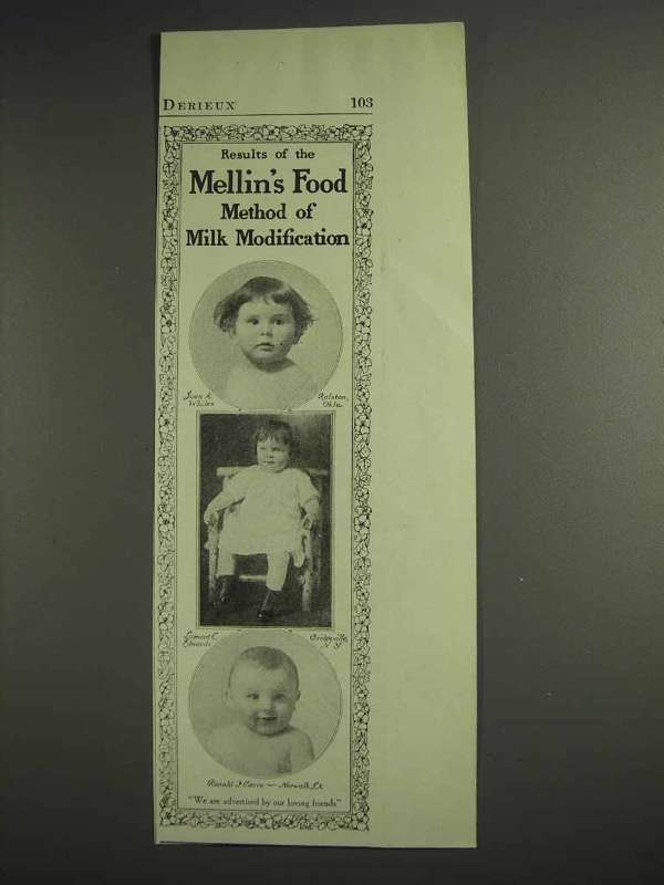 1917 Mellin's Baby Food Ad - Method of Milk Modification