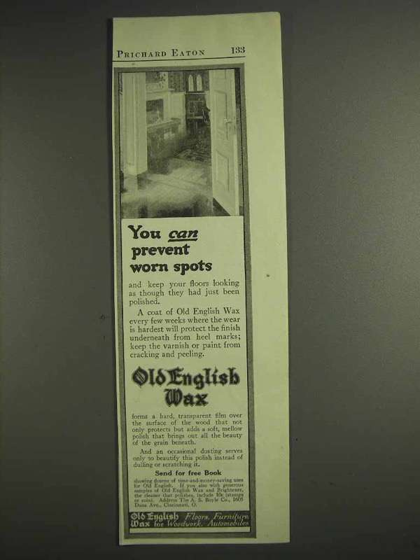 1917 Old English Wax Ad - You Can Prevent Worn Spots