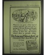 1917 Richmond Straight Cut Plain or Cork Tip Cigarettes Ad - $14.99