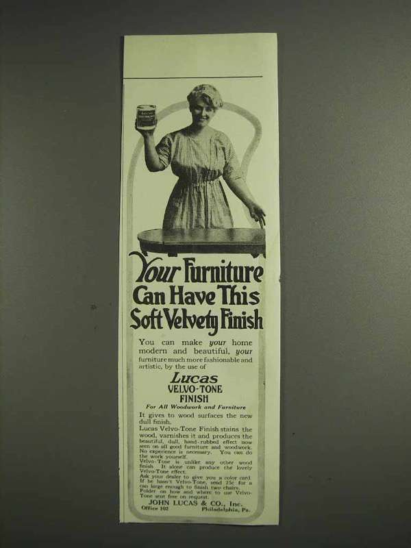 1917 Lucas Velvo-Tone Finish Ad - Soft Velvety Finish