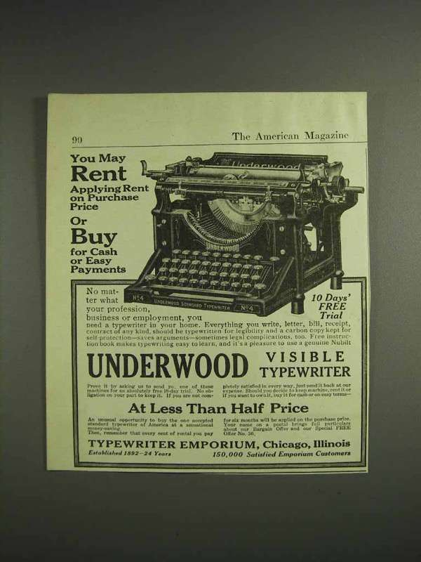 1917 Typewriter Emporium Ad - Underwood Visible