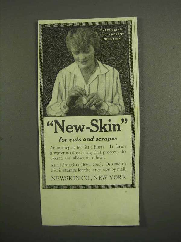 1917 New-Skin Antiseptic Ad - For Cuts and Scrapes