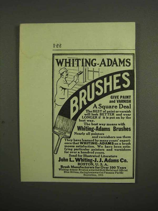1917 Whiting-Adams Paint Brush Ad - A Square Deal