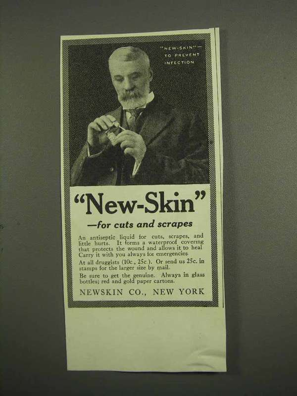1917 New-Skin Antiseptic Ad - New-Skin For Cuts and Scrapes