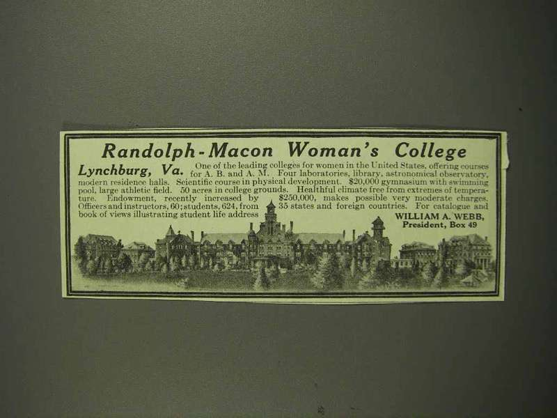 1917 Randolph-Macon Woman's College Ad