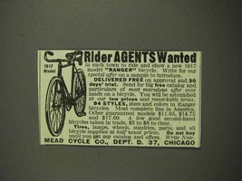 1917 Mead Ranger Bicycle Ad - Rider Agents Wanted - $14.99