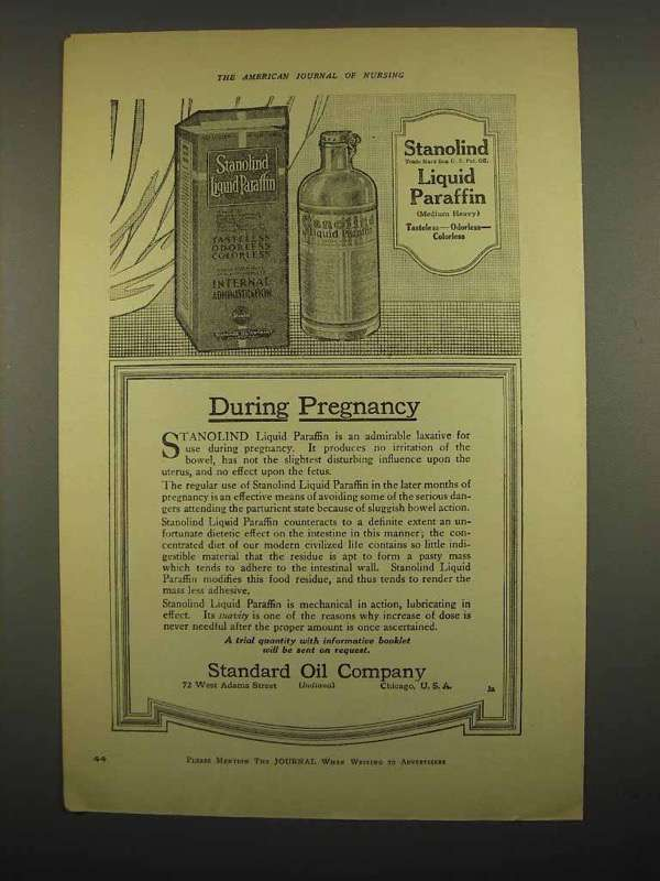 1918 Stanolind Liquid Paraffin Ad - During Pregnancy