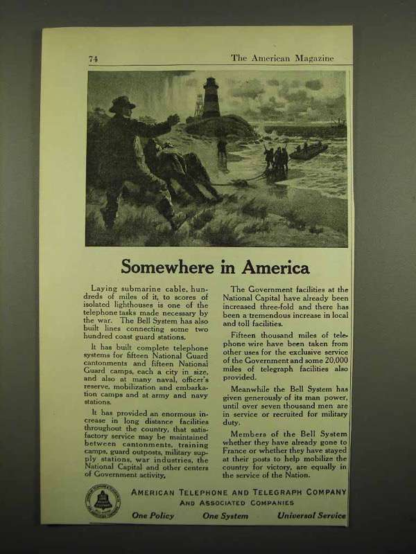 1918 AT&T Telephone Ad - Somewhere in America