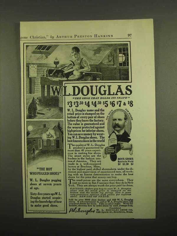 1918 W.L. Douglas Shoe Ad - The Boy Who Pegged Shoes