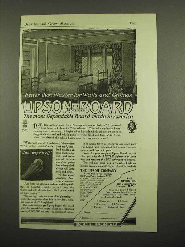 1918 Upson-Board Ad - Better Than Plaster for Walls