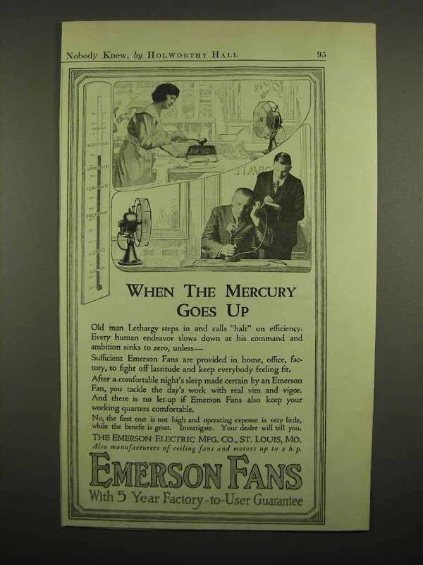1918 Emerson Fans Ad - When the Mercury Goes Up