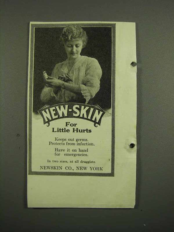 1918 New-Skin Antiseptic Ad - For Little Hurts