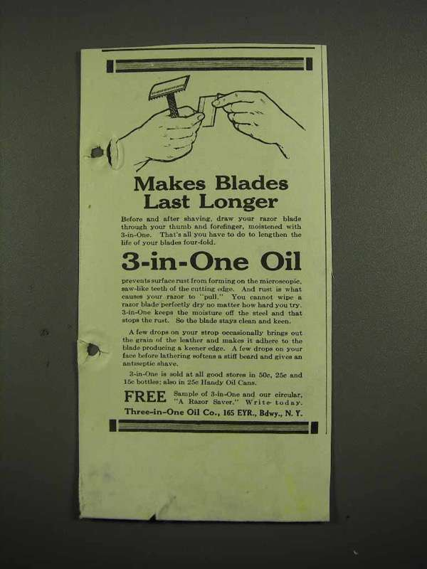 1918 3-in-One Oil Ad - Makes Blades Last Longer