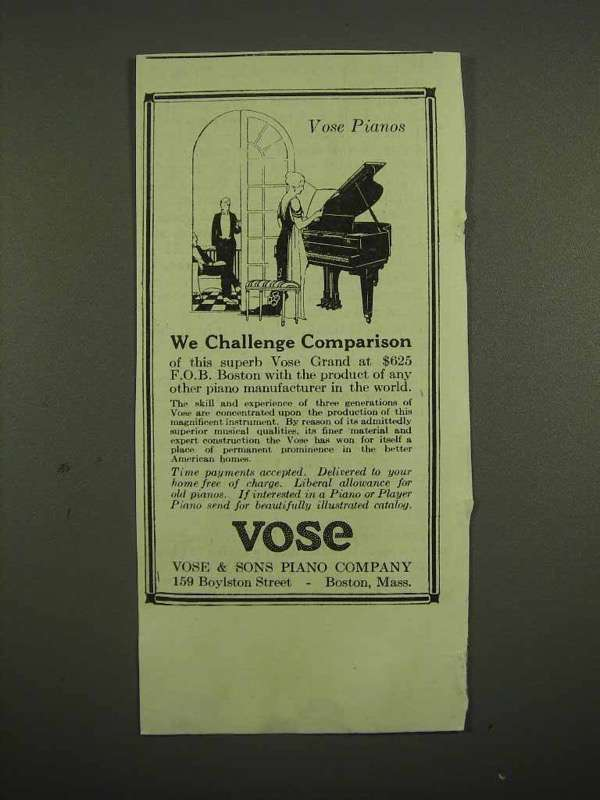 1918 Vose Piano Ad - We Challenge Comparison