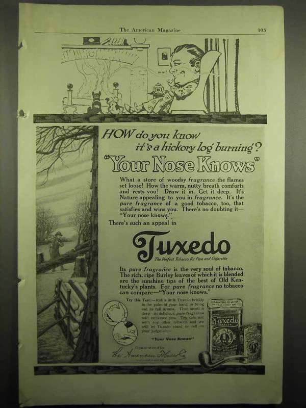 1918 Tuxedo Tobacco Ad - Your Nose Knows