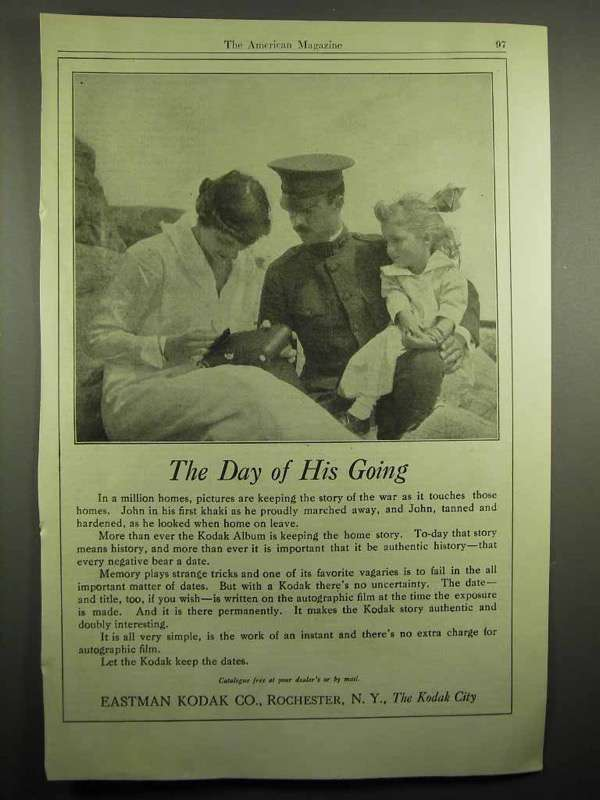 1918 Kodak Camera Ad - The Day of His Going