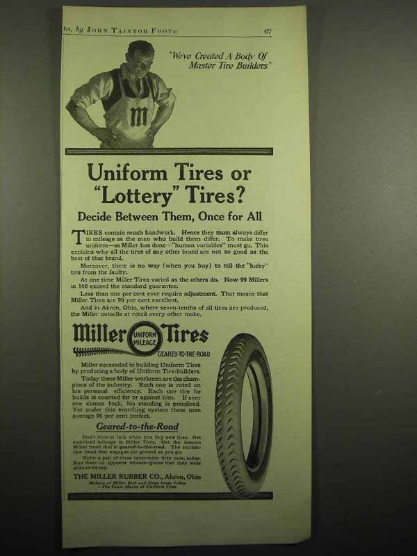 1918 Miller Tires Ad - Uniform Tires or Lottery Tires?