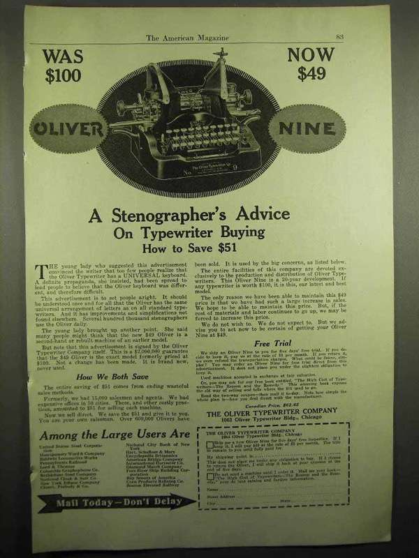 1918 Oliver Typewriter Ad - A Stenographer's Advice