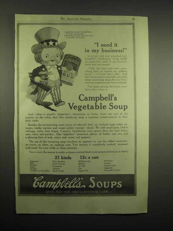 1918 Campbell's Vegetable Soup Ad - I Need It