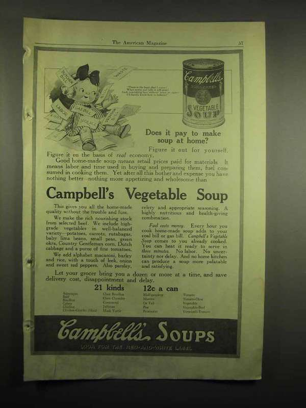 1918 Campbell's Vegetable Soup Ad - Does It Pay to Make