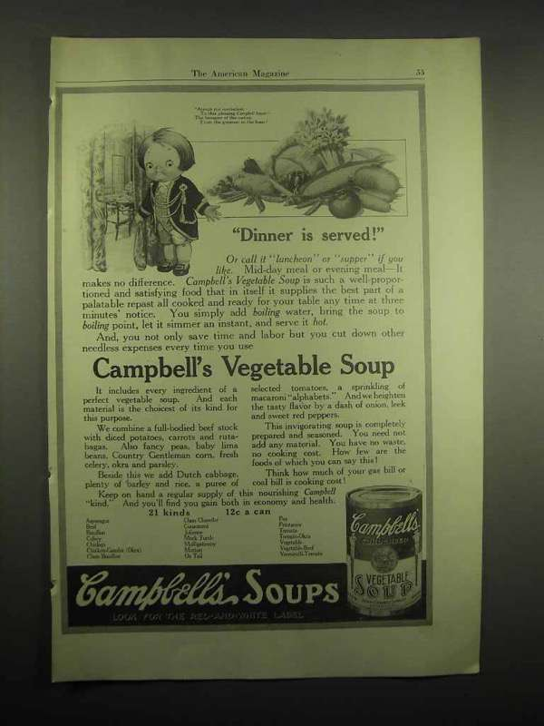 1918 Campbell's Vegetable Soup Ad - Dinner is Served