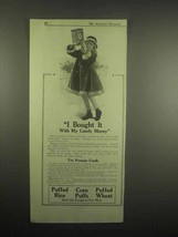 1918 Quaker Cereal Ad - Puffed Rice, Wheat, Corn Puffs - I Bought it - $14.99