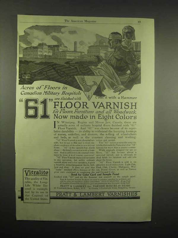 1918 Pratt & Lambert Floor Varish Ad, Military Hospital