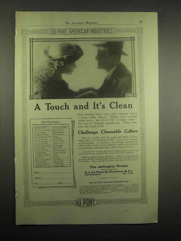 1918 Du Pont Challenge Cleanable Collars Ad