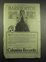 1917 Columbia Records Ad - Mme. Barrientos - $14.99