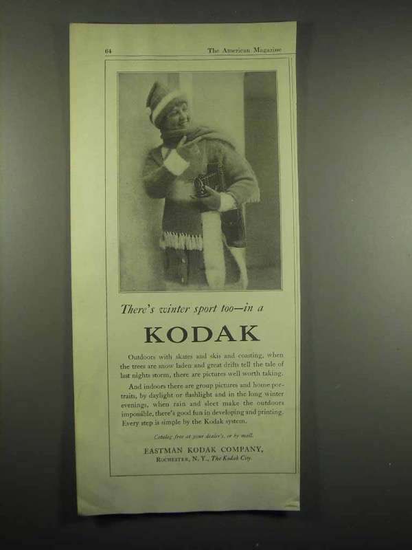 1917 Kodak Camera Ad - There's Winter Sport Too