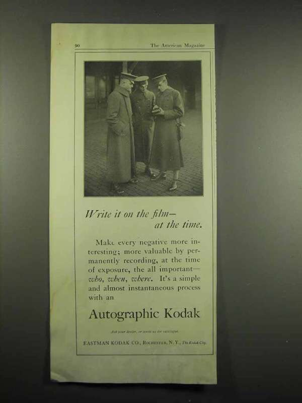 1917 Autographic Kodak Camera Ad - Write on the Film
