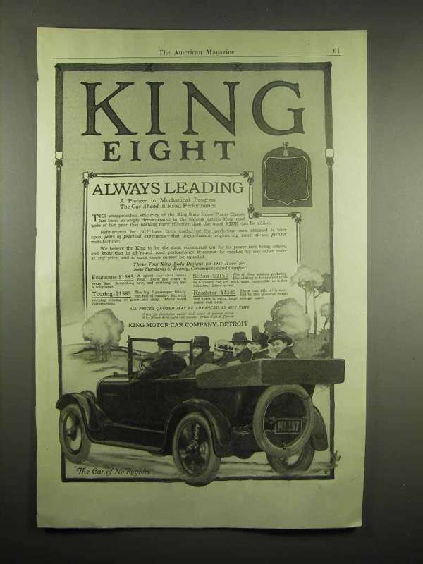 1917 King Eight Car Ad - Always Leading